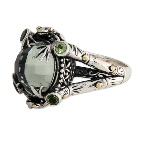 Handmade Gold Overlay 'Tropical Frog' Prasiolite Cocktail Ring (Indonesia)