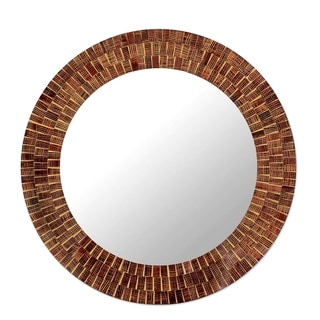 Handmade Mumbai Maze Brown Gold and Maroon Glass Tile Mosaic Art Decor Accent Contemporary Round Wall Mirror (India)