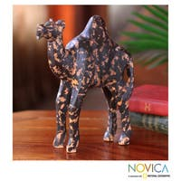 Handcrafted Sese Wood 'African Camel' Sculpture (Ghana)