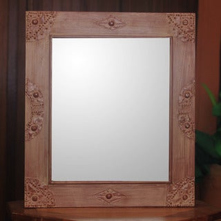 Sese Wood Brass Handcrafted 'I'm Perfect in Cinnamon' Mirror (Ghana)