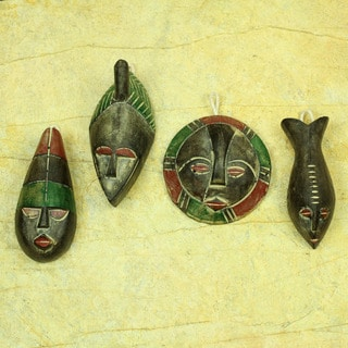 Set of 4 Handcrafted Sese Wood 'Shepherds' Ornaments (Ghana)