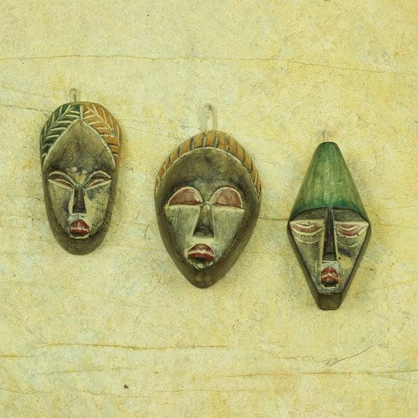 Handmade Set of 3 Sese Wood 'Three Wise Men' Ornaments (Ghana)