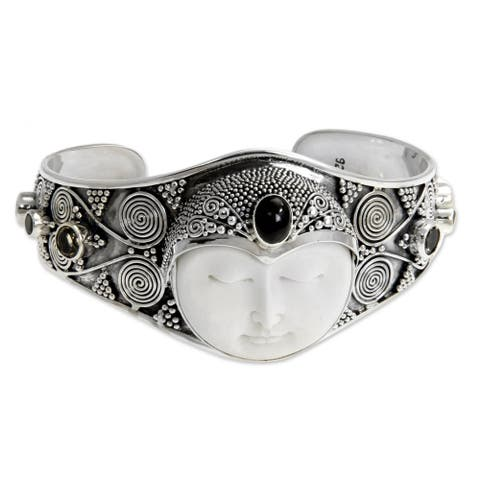 Handmade Imperial Woman Ornate Carved Bone with Multi Gemstone 925 Sterling Silver Womens Cuff Bracelet (Indonesia)