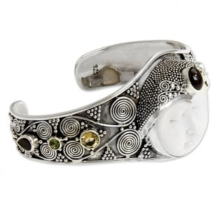Imperial Woman Ornate Carved Bone with Multi Gemstone 925 Sterling Silver Womens Cuff Bracelet (Indonesia)
