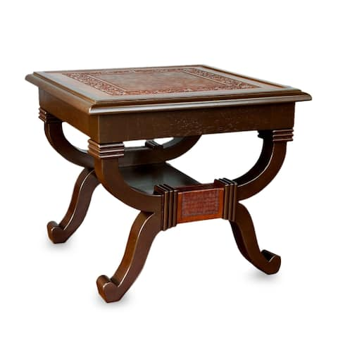 Handmade Fern Garland Artisan Designer hand-tooled Fine Leather Brown Mohena Wood End Table (Peru)