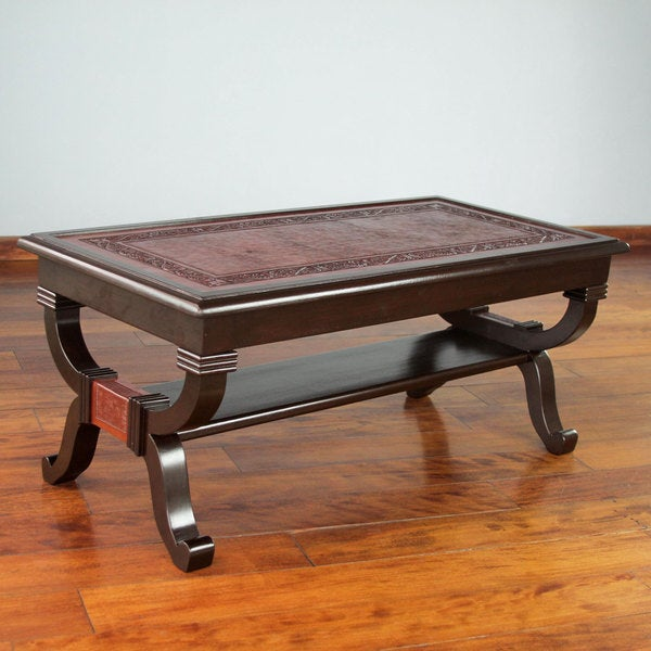 Leather Brown Mohena Wood Home Decor Furniture Coffee Table Peru