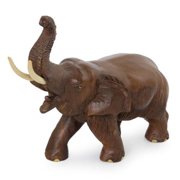 Handcrafted Rain Tree Wood 'Elephant Delight' Sculpture (Thailand)