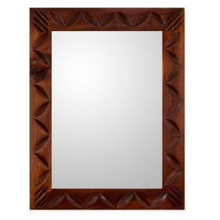 Handcrafted Pinewood 'Highland Dawn' Mirror (Guatemala)