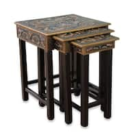 Artisan Crafted Tooled Leather Wood Side Table Set of 3