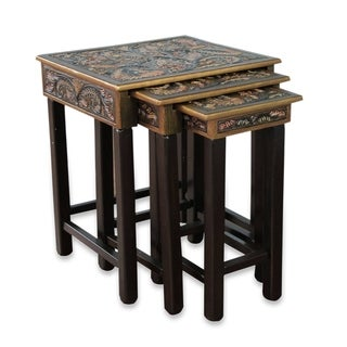 Handmade Bird of Paradise Set Of 3 Artisan Hand Tooled Leather Brown Mohena Wood Home Decor Furniture End Tables (Peru)