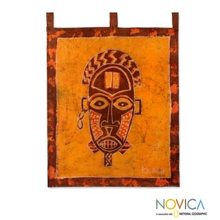 Handcrafted Cotton 'Oduro Mask' Batik Wall Hanging (Ghana)