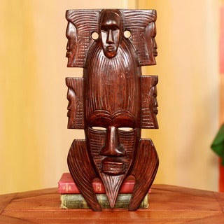 Handcrafted Sese Wood 'African Family' Mask (Ghana)