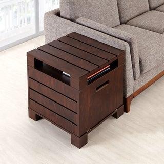 Furniture of America Prag Vintage Walnut Drop-down Door End Table
