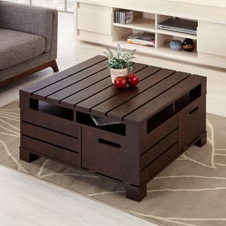 Furniture of America Crete Vintage Walnut Coffee Table. Square  Coffee Tables For Less   Overstock com