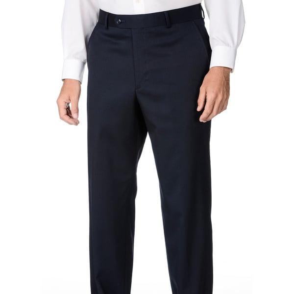 Palm Beach Mens Navy Wool Flat-front Dress Pants