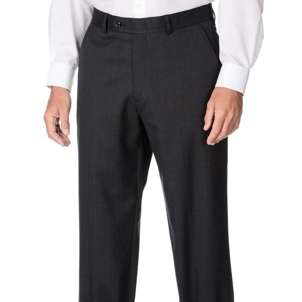 Palm Beach Men's Charcoal Stripe Wool Dress Pants