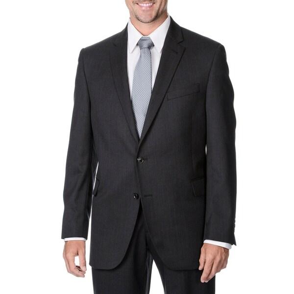 Palm Beach Mens Big & Tall Charcoal Striped 2-button Wool Blazer