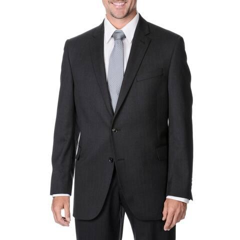 Palm Beach Men's Big & Tall Charcoal Striped 2-button Wool Blazer