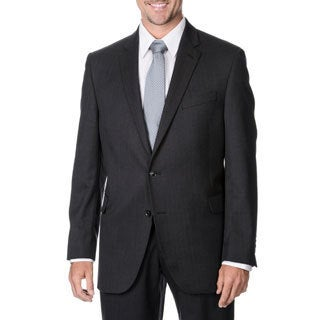 Palm Beach Men's Big & Tall Charcoal Striped 2-button Wool Blazer