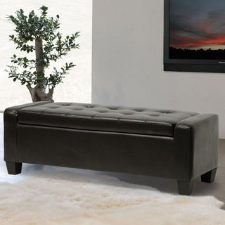 Baxton Studio Biondello Leather Storage Ottoman