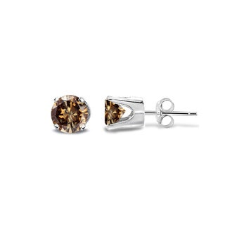 DB Designs 14k White Gold 1/4ct TDW Champagne Diamond Round Stud Earrings (I2-I3)