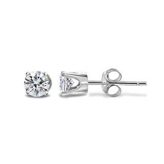 DB Designs 14k Gold 1/8ct TDW White Diamond Round Stud Earrings - Silver