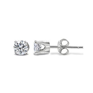 DB Designs 14k Gold 1/8ct TDW White Diamond Round Stud Earrings - Silver