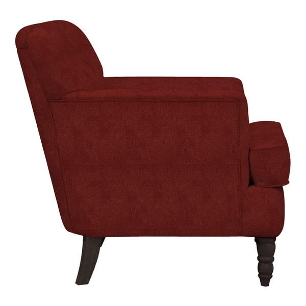 Admirable Shop Handy Living Sayre Sangria Red Chenille Armchair On Customarchery Wood Chair Design Ideas Customarcherynet
