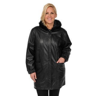 EXcelled Women's Plus Size Lambskin Walking Coat with Faux Fur Hood