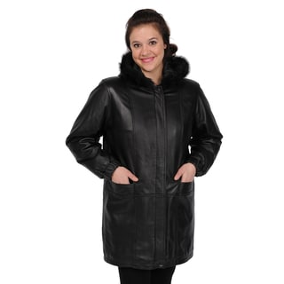 EXcelled Women's Lambskin Walking Coat with Faux Fur Hood