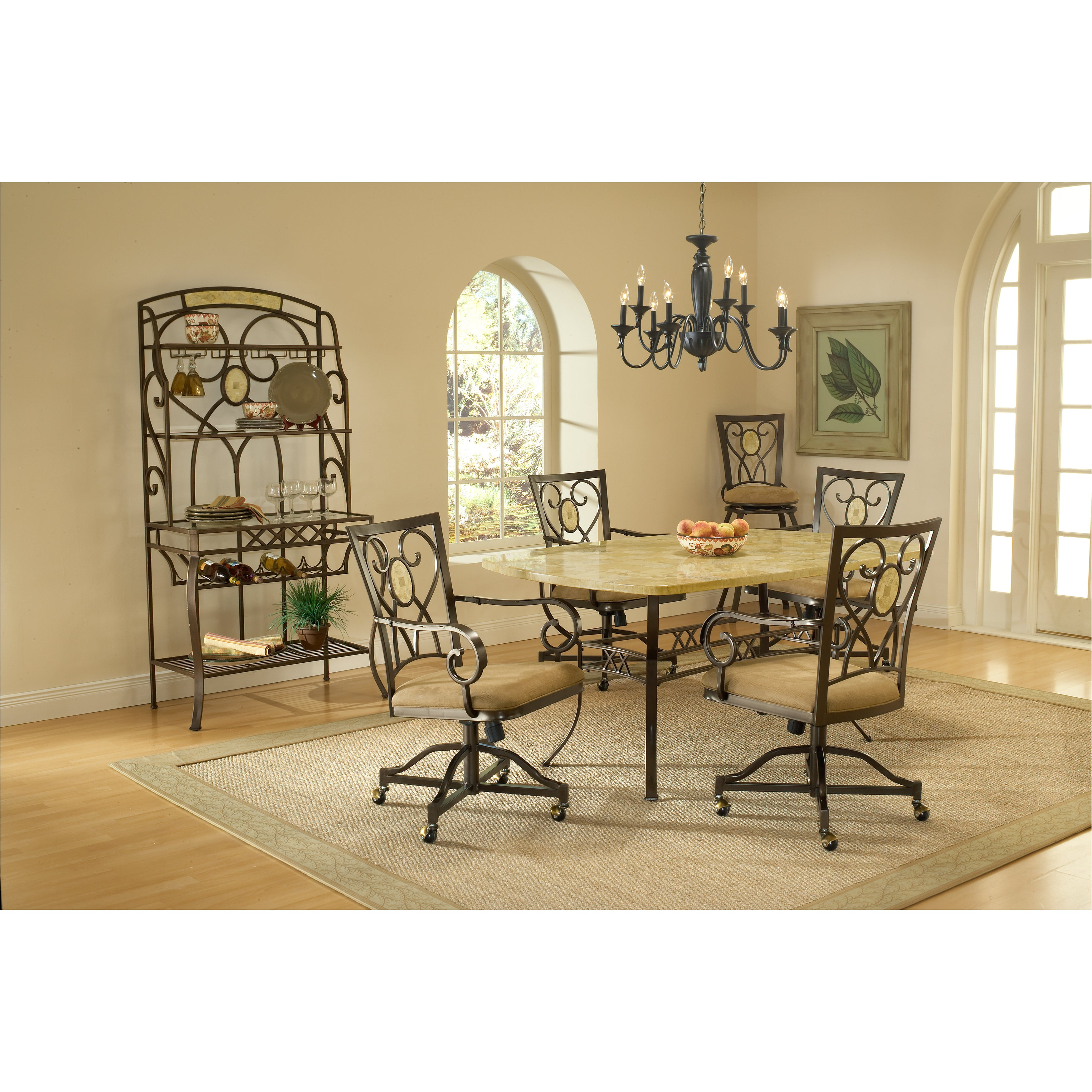 Hillsdale Brookside 5-piece Dining Set with Caster Chairs...