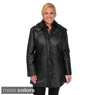 EXcelled Women's Plus Nappa Drawstring Waist Anorak with Detachable Hood