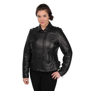 Excelled Women's Black Lambskin Motorcycle Jacket