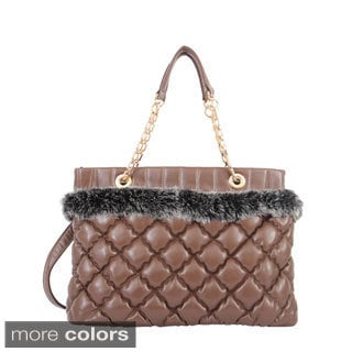 Mellow World 'Moscow' Quilted and Faux Fur Shoulder Bag