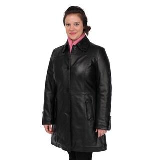 Excelled Women's Black Lambskin Leather Swing Jacket