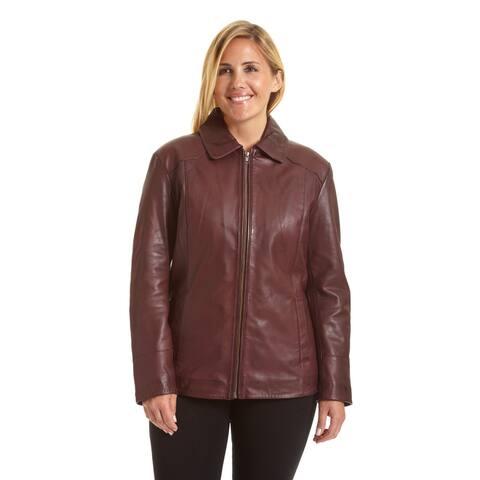 Excelled Women's Plus Lambskin Leather Scuba Jacket