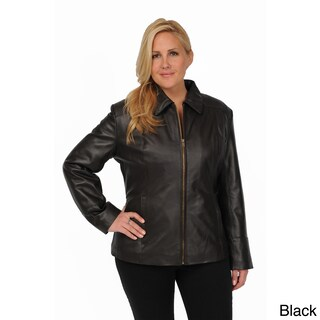 Excelled Women's Plus Lambskin Leather Scuba Jacket (3 options available)