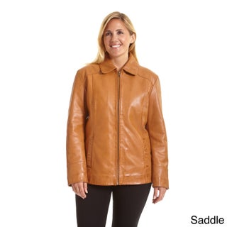 Excelled Women's Plus Lambskin Leather Scuba Jacket (2 options available)