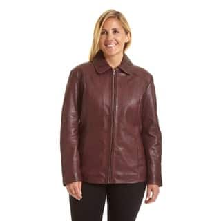 Excelled Women's Plus Lambskin Leather Scuba Jacket|https://ak1.ostkcdn.com/images/products/9447485/P16632113.jpg?impolicy=medium