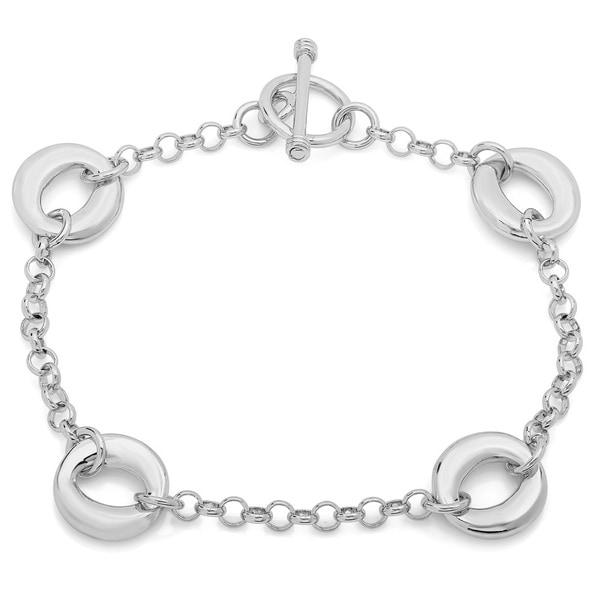 Sterling Essentials Sterling Silver Solid Oval Link Toggle Bracelet