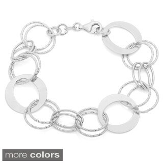 Sterling Essentials Silver Circle Link Bracelet