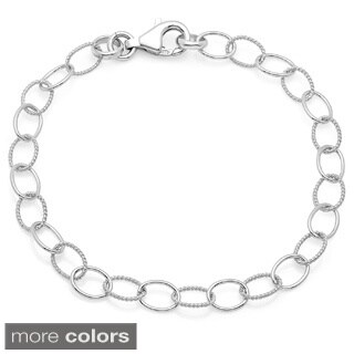 Sterling Essentials Silver Dual Textured Oval Charm Bracelet