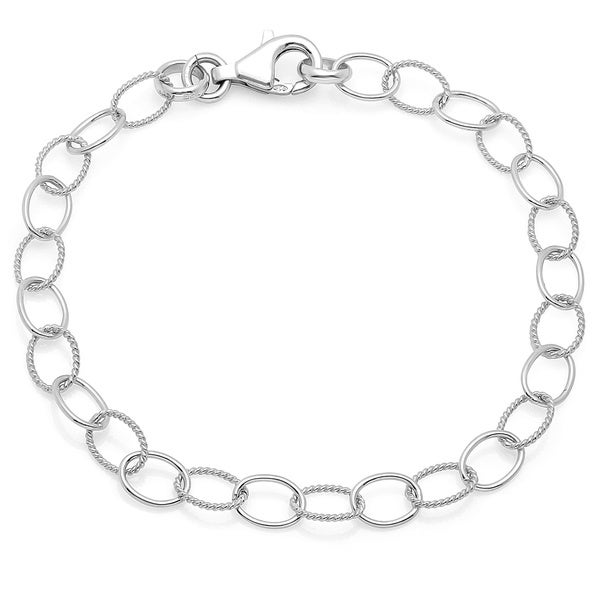 Sterling Essentials Silver Dual Textured Oval Charm Bracelet. Opens flyout.