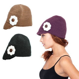 Handmade Women's Floral Knit Hat with Brim (Nepal) (3 options available)