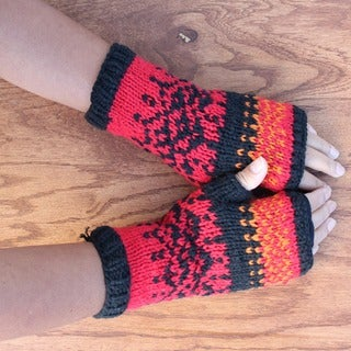 Hand-knit Soft Acrylic Peek-a-boo Fingerless Handwarmers (Nepal)