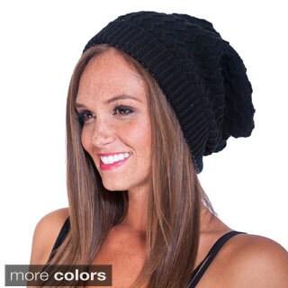 Women's Slouchy Knit Hat with Pom Pom (Nepal)