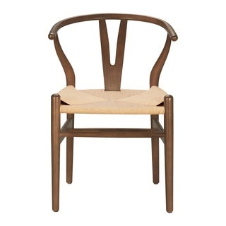 Wishbone Style Hemp Rope Weave Chair in Walnut