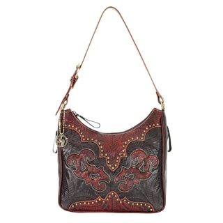 American West Distressed Crimson and Brown Leather Concealed Carry Handbag