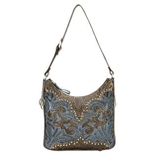 American West Distressed Crimson and Brown Leather Concealed Carry Handbag|https://ak1.ostkcdn.com/images/products/9452817/P16636947.jpg?impolicy=medium