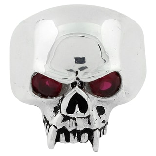 Sterling Silver Vampire of Hell Garnet Cubic Zirconia Eyes Skull Ring
